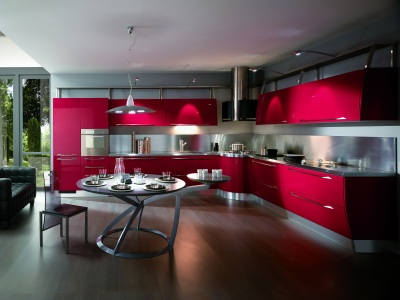 budowaplus pl czerwona kuchnia w stylu hi tech. Black Bedroom Furniture Sets. Home Design Ideas