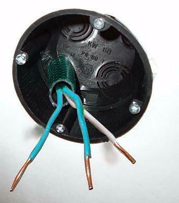 Przewody w środku skrzynki przeznaczone dla urządzenia elektrycznego